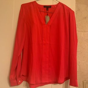 NWT BR Hot Coral Blouse XSP